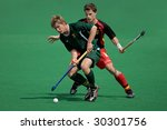 SOUTH AFRICA - MARCH 14: Action during an international men's field hockey game between Germany and South Africa (Germany won 4-3), Bloemfontein, South Africa, 14 March 2009 - stock photo