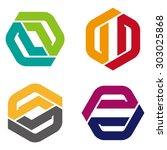 vector hexagon logo template.... | Shutterstock .eps vector #303025868