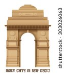 illustration of indian gate in... | Shutterstock .eps vector #303026063