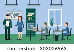 typical working day in the... | Shutterstock .eps vector #303026963