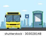 picture of a yellow city bus on ... | Shutterstock .eps vector #303028148