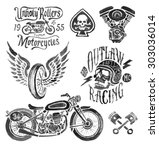 hand painted motorcycle elements | Shutterstock . vector #303036014