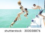 group of friends diving in the... | Shutterstock . vector #303038876