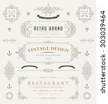 set of vintage decorations... | Shutterstock .eps vector #303039464