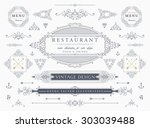 set of vintage decorations... | Shutterstock .eps vector #303039488
