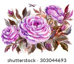 beautiful roses and dragonfly.... | Shutterstock . vector #303044693