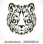tiger tattoo illustration... | Shutterstock .eps vector #303048314