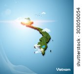 realistic 3d map of vietnam | Shutterstock . vector #303050054