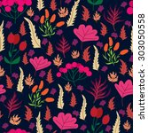 seamless autumn pattern with... | Shutterstock .eps vector #303050558