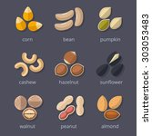nuts and seeds icon set. almond ... | Shutterstock .eps vector #303053483