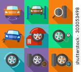 tire wheel service icons set in ...   Shutterstock .eps vector #303053498