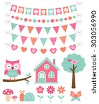 vector summer decoration and... | Shutterstock .eps vector #303056990