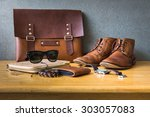 men's casual outfits on wooden... | Shutterstock . vector #303057083