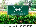 safety first and assembly point ... | Shutterstock . vector #303059750