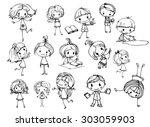 happy kid cartoon doodle... | Shutterstock .eps vector #303059903