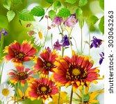 beautiful flowers in the garden | Shutterstock . vector #303063263