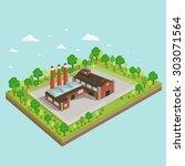 industrial building factory 3d... | Shutterstock .eps vector #303071564