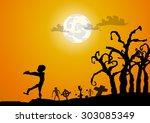 vector   zombies and gaveyard... | Shutterstock .eps vector #303085349