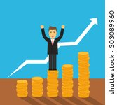 business man stand on coins...   Shutterstock .eps vector #303089960