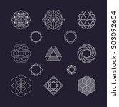 set of vector geometric... | Shutterstock .eps vector #303092654