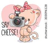 Cute Cartoon Cat Girl With A...