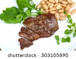 roasted beef steak with dill ... | Shutterstock . vector #303105890