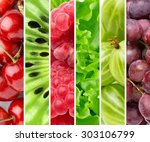 color fruits and berries. fresh ... | Shutterstock . vector #303106799