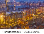 industrial port with containers | Shutterstock . vector #303113048