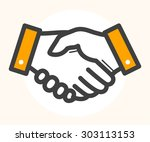 hand shake  deal icon. black... | Shutterstock .eps vector #303113153