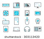 computer components icon set ... | Shutterstock .eps vector #303113420