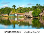 view of a small village in the... | Shutterstock . vector #303124670