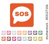 the sos speech bubble icon.... | Shutterstock .eps vector #303127106