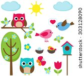 cute set of different spring... | Shutterstock . vector #303128090