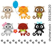 stylized set of cute cartoon... | Shutterstock . vector #303128120