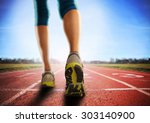 an athletic pair of legs going... | Shutterstock . vector #303140900