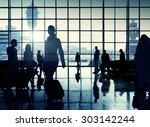 international airport passenger ... | Shutterstock . vector #303142244