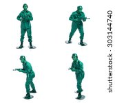 four man on a green toy soldier ... | Shutterstock . vector #303144740