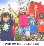 kids diverse playing kite field ... | Shutterstock . vector #303146108