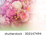sweet color fabric roses in... | Shutterstock . vector #303147494