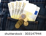 euro bank noteand coin in... | Shutterstock . vector #303147944