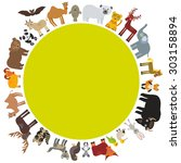 Round Frame. Animal Card...