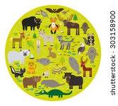 bison bat manatee fox elk horse ... | Shutterstock .eps vector #303158900
