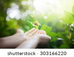 snail in human hands on blurred ... | Shutterstock . vector #303166220
