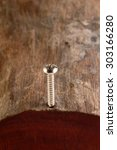 Small photo of Screw screwed into a timber - Close up.