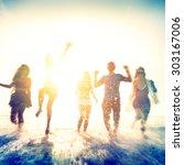 friendship freedom beach summer ... | Shutterstock . vector #303167006