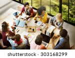 diverse group people working... | Shutterstock . vector #303168299