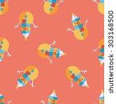 snowman flat icon  seamless... | Shutterstock . vector #303168500