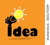 creative bulb light idea flat... | Shutterstock .eps vector #303175349
