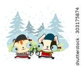 vector illustration of  cute... | Shutterstock .eps vector #303175874