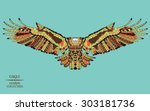 zentangle stylized eagle.... | Shutterstock .eps vector #303181736